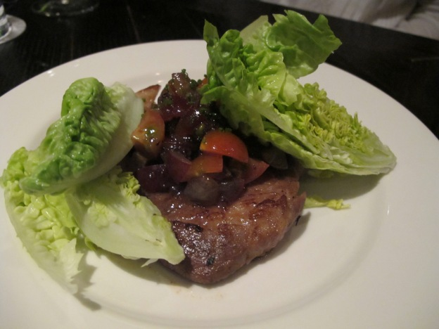 Grilled Kurobuta pork collar, grapes & sucrine lettuce