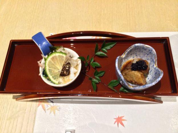Palate Cleanser: Left is a seaweed vinaigrette