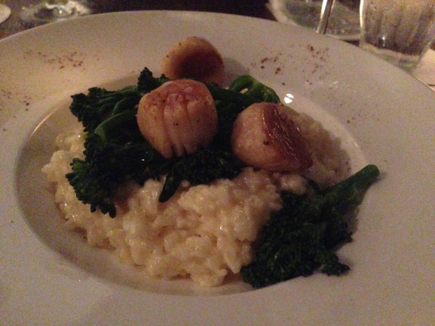 Creamy Risotto with Seared Hokkaido Scallops, Broccolini & Truffle Oil