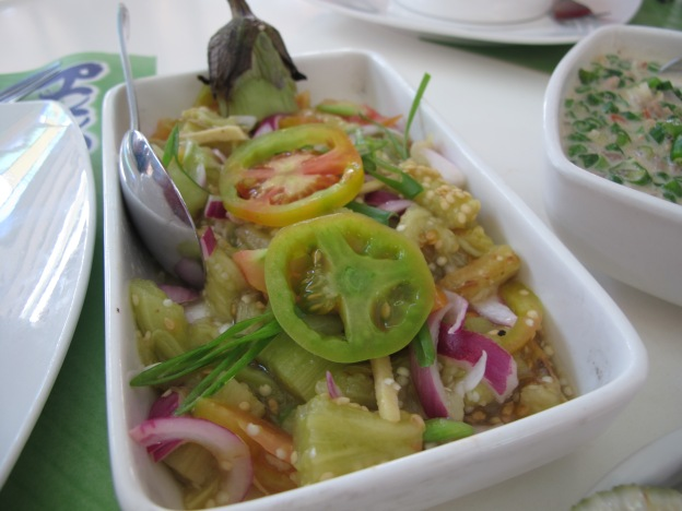 Rellenong Talong (Eggplant with assorted vinegar-ed vegetable)