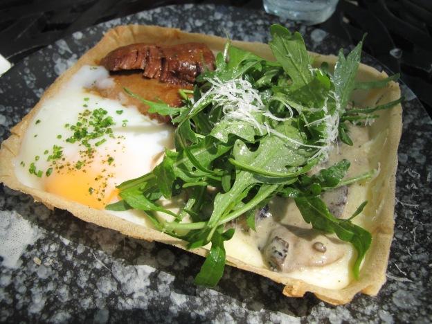 Flan: berkshire pork, saute mushroom, egg, soubise sauce, cream, pommery mustard