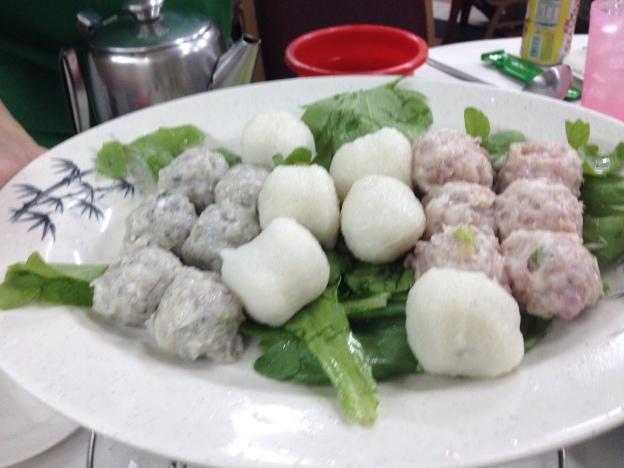 Home made fishballs and meatballs